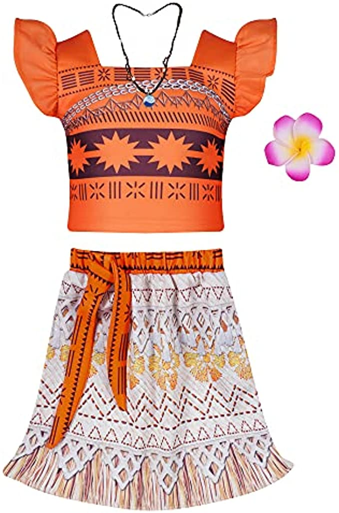 Girls Adventure Outfit Skirt Princess Costume Skirt Set Two-Piece Cosplay Dress Up with Necklace and Flower Hairclip