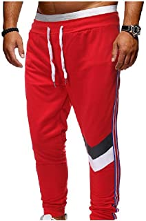 neveraway Men's Relaxed Elastic Waist Plus Size Patchwork Sports Jogger Pants
