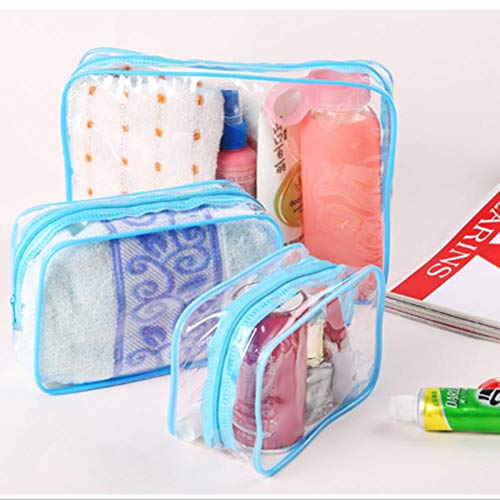 Make-up Taschen Kulturtaschen Reise PVC Kosmetiktaschen Frauen Transparente klare Reißverschluss Make-up Taschen Organizer Badwäsche Make-up Tote Handtaschen Fall L Blau
