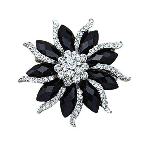 Sanwood - Spilla da donna con diamanti artificiali, motivo fiore, colore: Nero