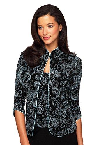 Alex Evenings Women's Mandarin Neck Twinset Tank Top and Jacket Petite Regular, Black/Blue Pais, L