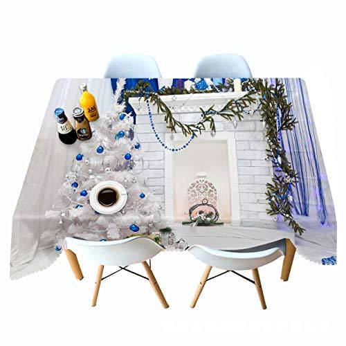 Mantel / mantel impreso árbol de Navidad blanco Mantel rectangular Mantel / paño para colgar creativos personalizados Adecuado para mesa de comedor, jardín, sala de estudio, sala de estar 70cm*120cm