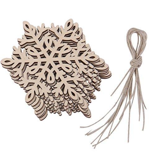 10pcs Fiocco Di Neve Legno Abbellimento Albero Di Natale Ornamento Appesa Decorazione