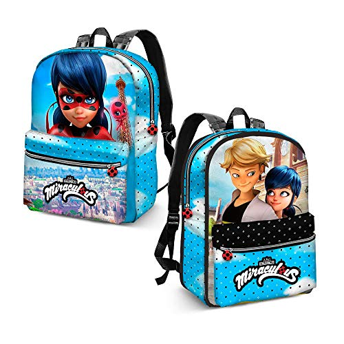 Karactermania Ladybug Courage-Reversible 2-in-1 Backpack (Small) Zainetto per bambini, 31 cm, 7.5 liters, Blu (Blue)