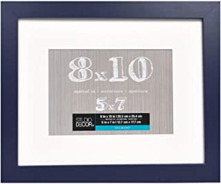 8 x10 Navy Blue Picture Frame Assortment of Colored Photo Frames - Displays 5x7 with Mat or 8x10 W/O Mat - Wall Mounting Material Included (Blue)