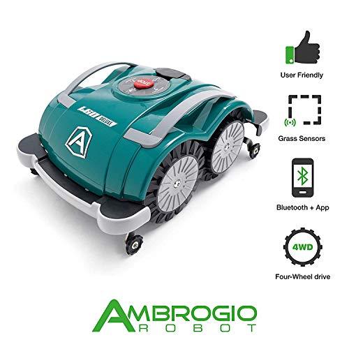 Robot cortacésped Ambrogio L60Deluxe, Robot cortacésped de jardín Sin instalación hilo perímetro, Robot impermeable para césped cubre Un área de M2, Robot de jardín Listo para usar con Bluetooth