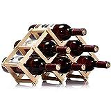 W22 選べるサイズ 折りたたみ式 ワインラック 木製 ホルダー ワイン シャンパン ボトル 収納 ケース スタンド インテリア (6本収納)
