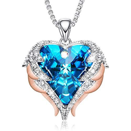 YANYING Collana Donna Ocean Heart Collana Angel Wing Crystal Clavicle Chain Necklace, Regalo di Natale per Lei, Regalo di San Valentino con Bordo Oro Blu-Ray