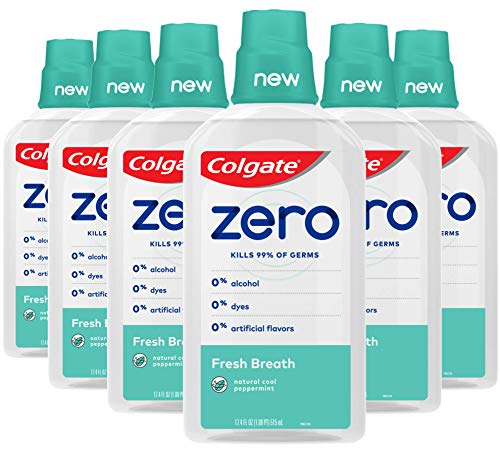 Colgate Zero for Fresh Breath Alcohol Free Mouthwash with CPC (Cetylpyridinium Chloride), Natural Cool Peppermint - 515 mL, 17.4 fluid ounce (6 Pack)