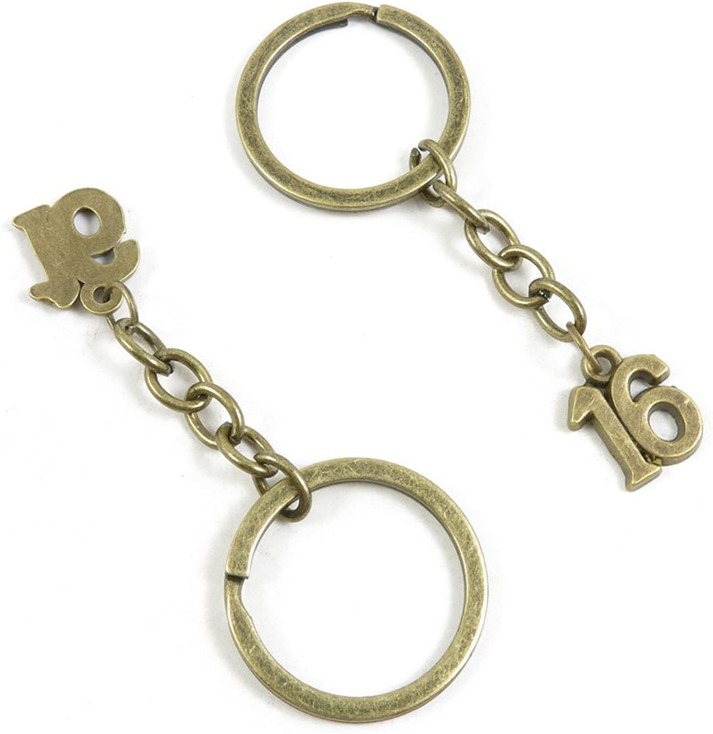 210 Pieces Fashion Jewelry Keyring Keychain Door Car Key Tag Ring Chain Supplier Supply Wholesale Bulk Lots Q9MS4 Number Numeral 16