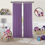 Elrene Home Fashions Greta Juvenile Teen or Tween Tab Top Sheer Single Window Panel Curtain Drape, 50' x 108' (1, Purple