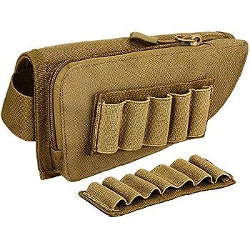 FARMSOLDIER Rifle Stock Pack Cheek Pad,Buttstock Ammo Holder Zippered Utility Pouch,Cheek Riser Padded Cheek Rest Pouch Tan