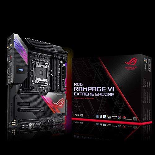 ASUS ROG Rampage VI Extreme Encore Gaming Mainboard Sockel Intel LGA 2066 (ATX, WiFi6, 10Gbit/s-Netzwerk, USB 3.2 Gen 2x2, SATA, vier M.2-Steckplätze, Aura-Sync-RGB-Beleuchtung)