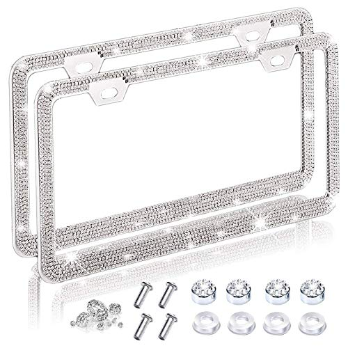 2 Pack Bling Car License Plate Frames for Women &
