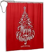 メリークリスマスハッピーニューイヤーシャワーカーテン、バスルームポリエステル防水ファブリックバスタブセットバスルームカーテン装飾用フック付き60 X72インチ-鉄-60x72インチ