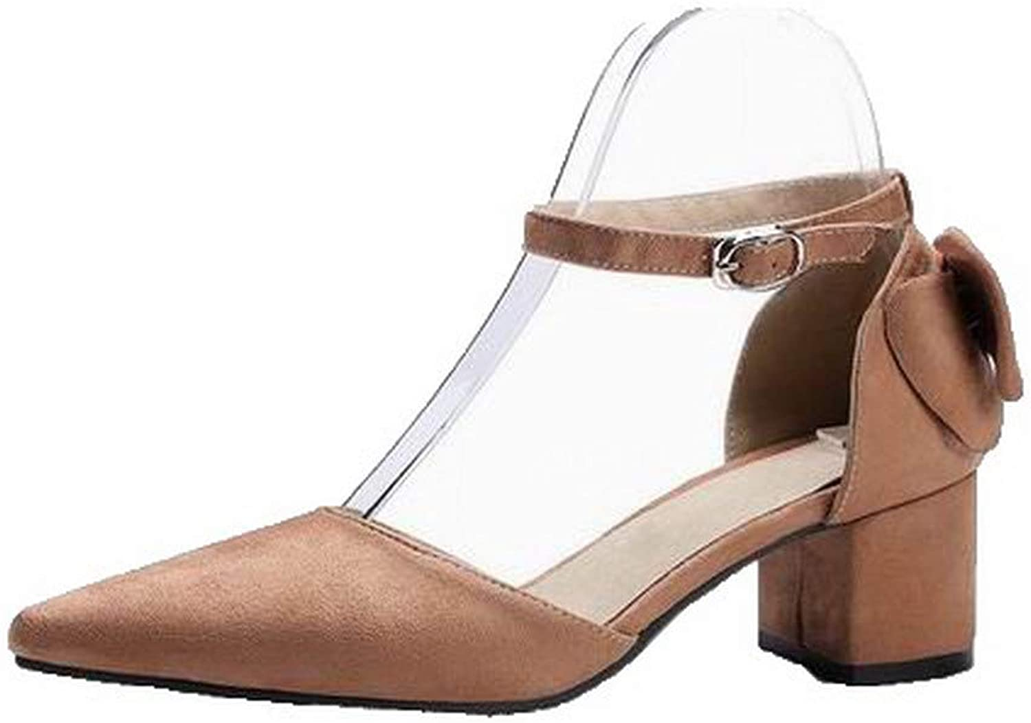 AllhqFashion Women's Imitated Suede Buckle Closed-Toe Low-Heels Sandals,FBULD015689