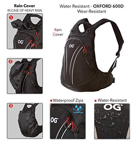 OG Online&Go Roadrunner Motorrad-Rucksack Wasserdicht Schwarz Leicht 20-30l, Motorradhelm-Tasche, Helm-Trageriemen, Fahrrad-Rucksack, Anti-Diebstahl, Laptop-Fach, Reflektierend - 4