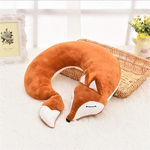N/X Preciosa Fox Animal Algodón Felpa en Forma de U Almohada para el Cuello Viaje Coche Hogar Almohada Siesta Almohada Cuidado de la Salud Almohada de Viaje