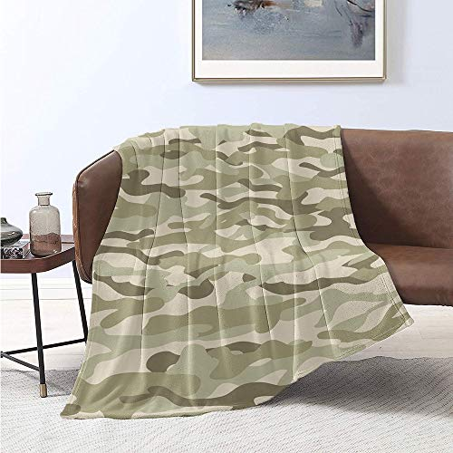 Jecycleus Camo, Weave Pattern Extra Long Blanket, Classical Camouflage Pattern Simplicity in Green Tones Graphic, Velvet Plush Throw Blanket 90x70 Inch Fawn Slate Brown Dusk and Eggshell