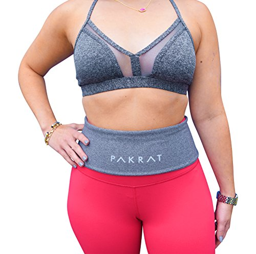 PakRat Running Belt Waist Pack – Runners Fold Over Belt, Fanny Pack for Jogging, Exercise or Travel, Holds Phone, Money, Keys (Gray, Large)