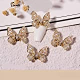 HUNIU Moving Butterfly Nail Jewelry Super Flash Nail Crystal Gem-studded Glitter DIY Manicure Nail Art 3D Flying Butterfly Nail Rhinestones(K8-1825)