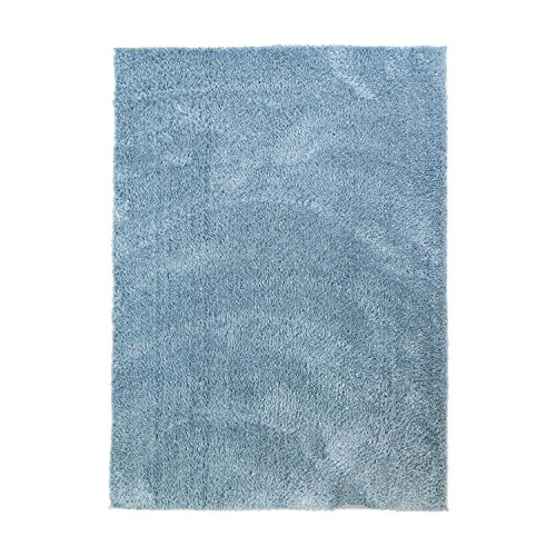 MyShop24h Teppich Wohnzimmer Blau Hochflor Shaggy 140x200cm Oeko-Tex Standard 100% Micro-Polyester Einfarbig Allergiker geeignet