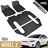 3D MAXpider L1TL00101509 Complete Set Custom Fit All-Weather Floor Mat for Select Tesla Model X Models - Kagu Rubber (Black)