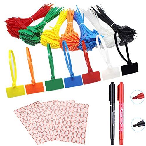 175 Piezas Sujetacables cable con cierre de cremallera etiquetas marcador Correas de Cable con etiquetas imprimibles gratuitas,para marcar y organizar los cables,150 * 30mm(7 colores surtidos)