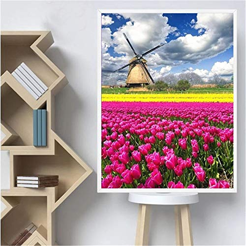 DIY 5D Diamond Painting by Number Kit Flower Adults/Kids Full Drill Crystal Rhinestone Diamond Embroidery Cross Stitch Pictures Arts Craft Canvas for Home Wall Decoration Gift 50x70cm/20x28in