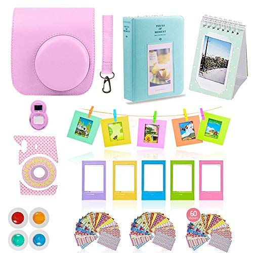 Fujifilm Instax Mini 9 or Mini 8 Camera Accessories Bundle 11 PC Gift kit Set Includes Pink Instax Case + Strap, 2 Fuji Albums, Filters, Selfie Lens, Hanging + Creative Frames, 60 Stickers + Gift Box