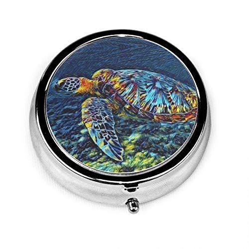 Pastillero redondo de metal para pastillero con tres compartimentos para guardar medicamentos y pastillas, diseño de tortugas marinas