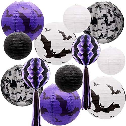 UNIQOOO 12pcs Spooky Black White Purple Halloween Hanging Paper Lanterns Set with Decorative product image