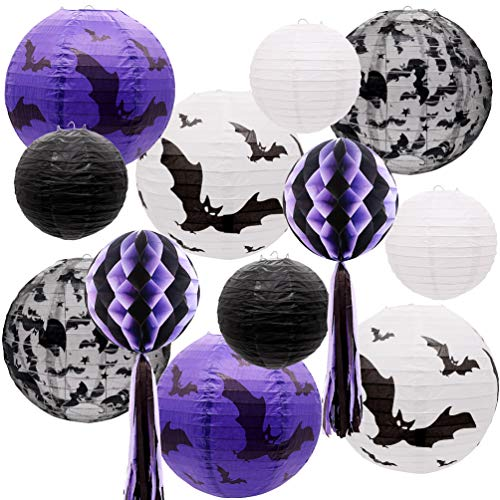 UNIQOOO 12pcs Spooky Black White Purple Halloween Hanging Paper Lanterns Set with Decorative Bats & Honeycomb Pom Pom Tassels for Indoor/Outdoor Holiday Home Garden Decor Party. 12 Inches & 8 Inches