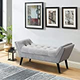 Tufted Upholstered Bench Fabric Gray Ottoman Bench for Bedroom Living Room Entryway with Wood Legs