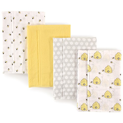 Hudson Baby unisex baby Cotton Flannel burp cloths, Bee, One Size US