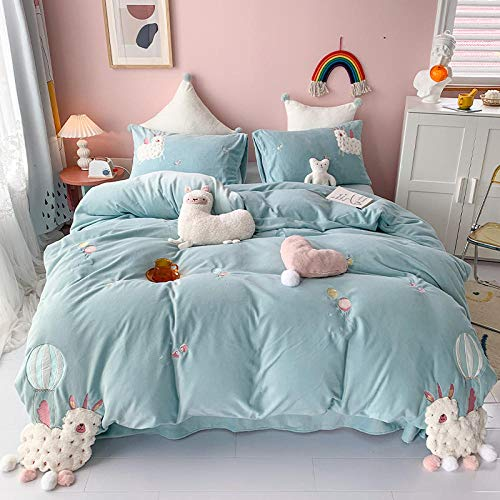 Shinon teddy fleece duvet set double teal,Winter thick cartoon quilt cover coral velvet bed sheet quilt cover pillowcase king size bedding-C_1.8m bed (4 pieces)