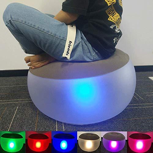 uuffoo Aufblasbarer Pouf Fußstütze LED Mehrfarbig Aufblasbare Loungen Sitz Fußstütze Schreibtisch Fußhocker mit Fernbedienung Aufblasbar Luftstuhl für drinnen und draußen, Camping, Garten