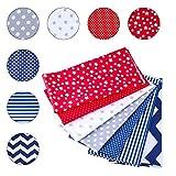 SUPERSUN 7 Piezas 50x50cm Telas Patchwork de Algodón para Manualidades, Costura, DIY, Azul y Rojo
