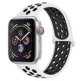 Lerxiuer Correa para Apple Watch, 42mm 44mm, Doble Color Pulsera de Repuesto de Silicona Suave Transpirable Correa para iWatch Series 5/4/3/2/1 (Blanco, Negro)
