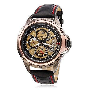 Relojes Hermosos, Hombre Reloj de Pulsera Cuerda Automática Huecograbado PU Banda Negro Marca- WINNER ( Color : Negro )