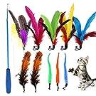 猫おもちゃ 羽のおもちゃ 天然鳥の羽棒鈴付き 猫じゃらし 交換用羽10個 伸縮できる 釣り竿 羽のおもちゃ交換 じゃれ猫 運動不足対策 ストレス解消 猫のお好みじゃらし ペット用品