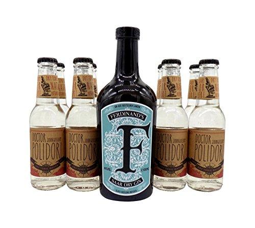 Ferdinand\'s Saar Dry Gin 1x 0,5L (44{1b1f0422dc84a4f82d7193bbc603188fe6aff23808dad258c93f040d385ea7bb} Vol.) & 8x Dr.Polidori Dry Tonic Water 0,2L | Gin & Tonic Set