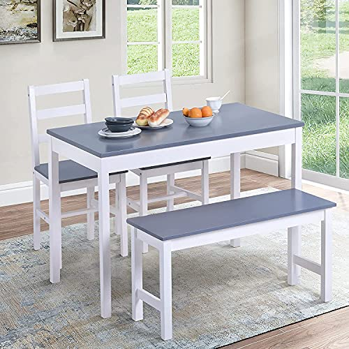 Pine Wood Dining Table and Chairs Set of 2 with 1 Bench Solid Wooden Kitchen Furniture, Home Furniture Set Dining Room Furniture Set, Grey