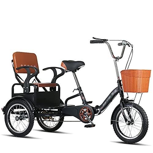 Triciclo de Rueda Dentada de 16 'Bicicleta Plegable para Adultos Bicicleta de 3 Ruedas con Asiento Trasero para Que los Padres Puedan Recoger y Dejar a los niños Carga 200 KG (Negro)