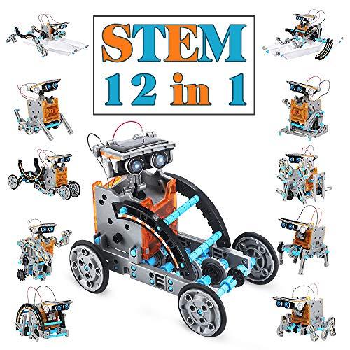TOYSTD STEM Spielzeug Junge 8-12 Jahre Solar Roboter Spielzeug 12-in-1 Science Kit Geschenke für Kinder-190 Teile DIY konstruktionsspielzeug , Solarbetrieben von der Sonne