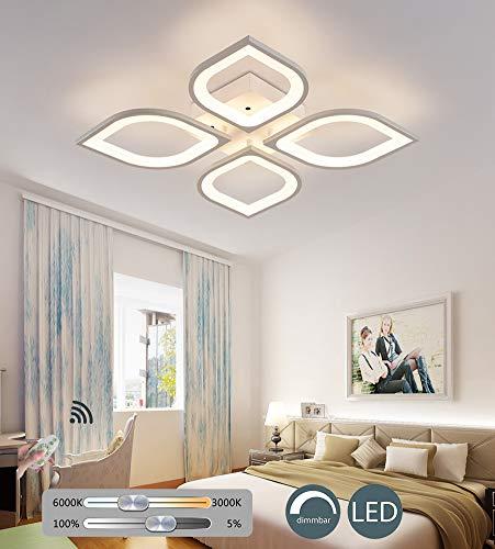 Wohnzimmerlampe Modern LED Decke Dimmbar Acryl Lampenschirm Deckenleuchte Chic Blütenform Esszimmer Esstischlampe Fernbedienung Deko Deckenlampe Pendelleuchte Küche Landhaus Leuchten,4 Heads