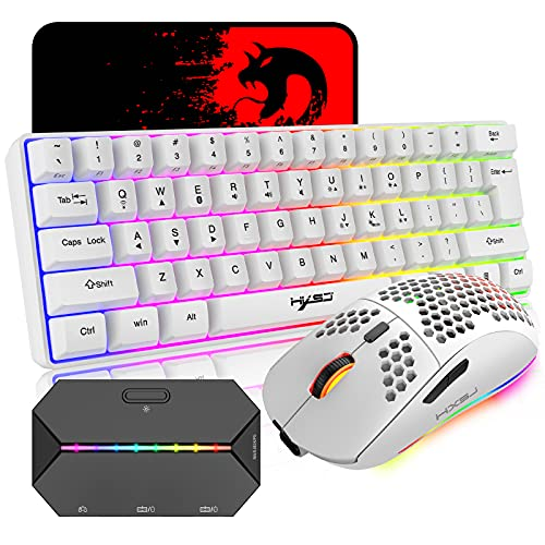 4 in 1 Wireless Gaming Keyboard Mouse and Converter with RGB Backlit Mini 61Key Ergonomic Honeycomb Shell 2.4Ghz USB Receiver Bluetooth Wired Adapter for PS4 PS3 Xbox Switch PC Mac Gamer Typist(White)