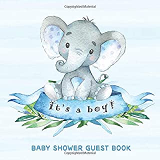 Baby Shower Guest Book: It's a Boy: Baby Elephant Guestbook + BONUS Gift Tracker Log and Keepsake Pages | Advice for Paren...