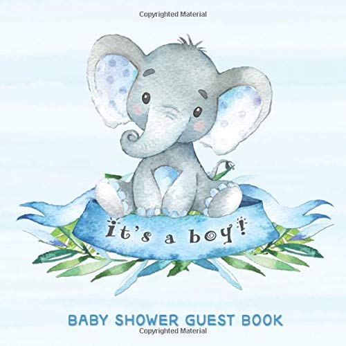 Baby Shower Guest Book: It's a Boy: Baby Elephant Guestbook + BONUS Gift Tracker Log and Keepsake Pages | Advice for Parents Sign-In | Blue with Grey Little Peanut