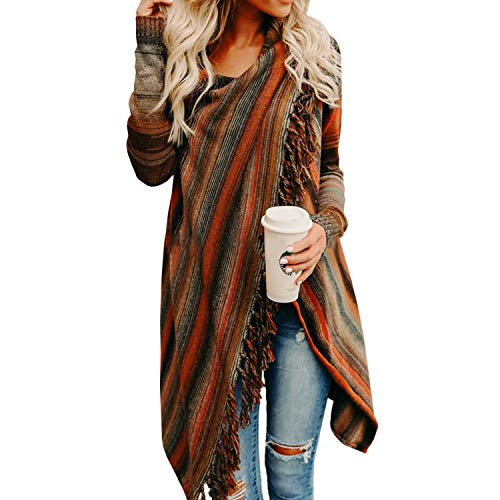 Petalum Damen Jacke Winter Herbst Warm Elegant Lady Langarm Fransen Quasten Lässig Asymmetrisch Stricken Stola Schal Jacken Outdoor Knit Cape Trachtentuch Poncho (EU 38(Etikette S), Design C)
